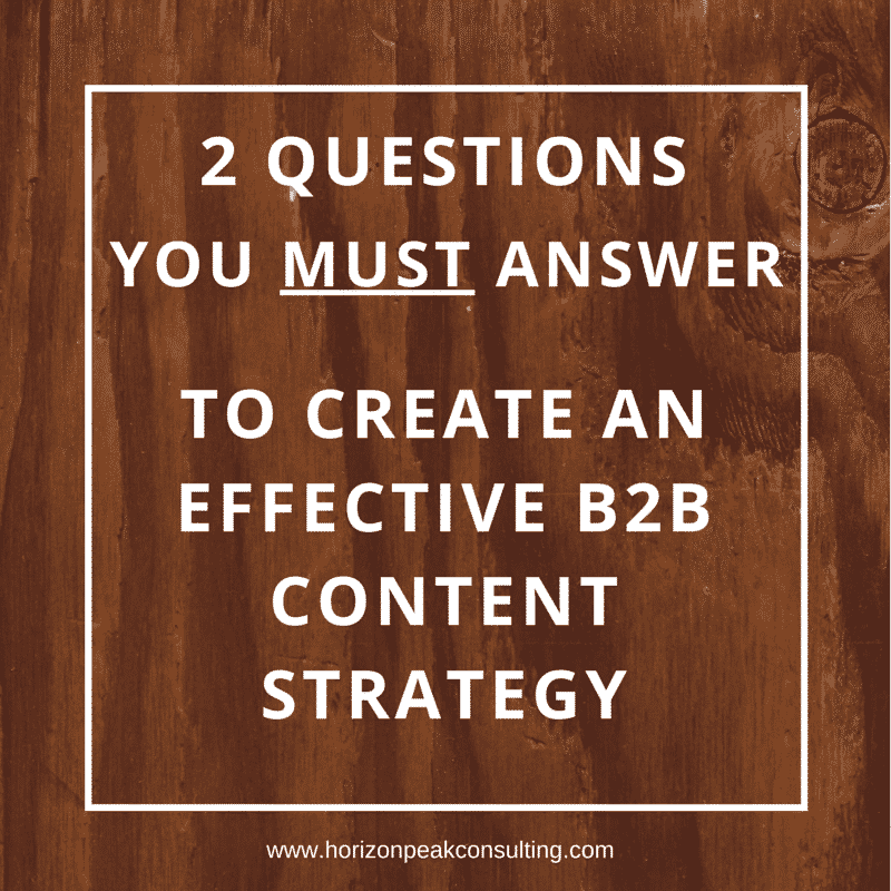 2 Questions you must answer to create an effective B2B content strategy