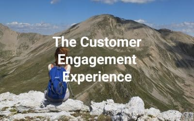 The Customer Engagement Experience - hiker looking at mountaintops